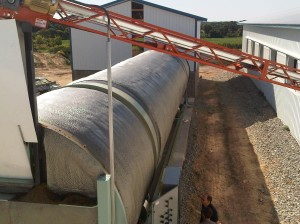 In-Vessel Rotating Drum Composter. The 10' diameter x 60' long BioReactor will compost dairy manure
