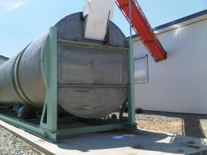 The BioReactor's infeed opening is located in the upper quadrant of the in-vessel rotating drum composter which allows the drum to be filled to 70% capacity.